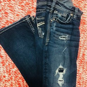 Silver distressed jeans